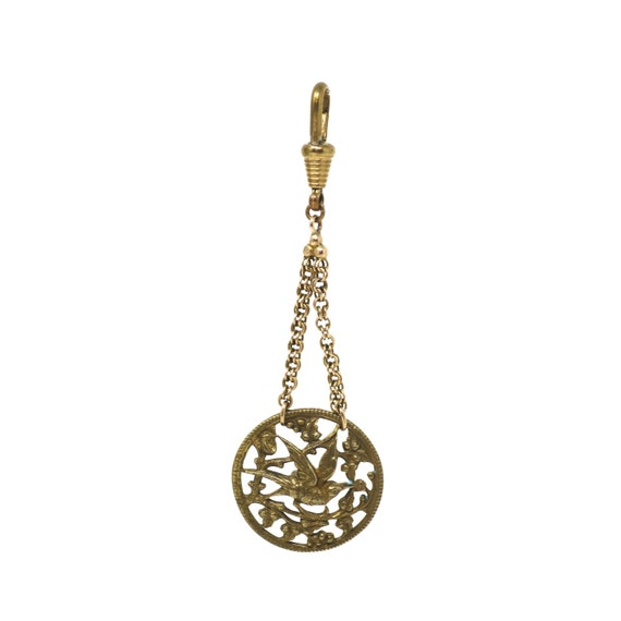 Antique Openwork Bronze Humming Bird Button Pendan