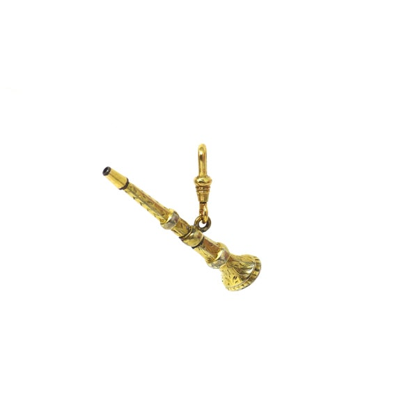 Victorian Gilt Metal Engraved Watch Key Fob with B