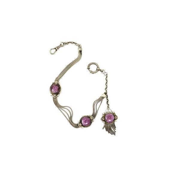 French Albertina Silver Watch Chain Guilloché Styl