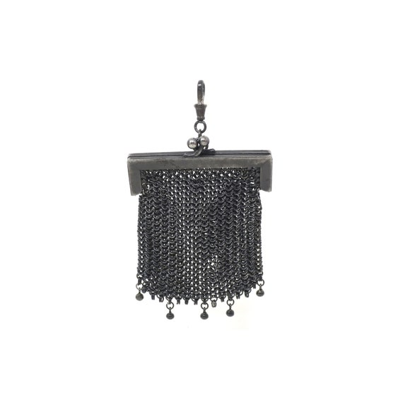 Antique Victorian Mourning French Gunmetal Mesh Co