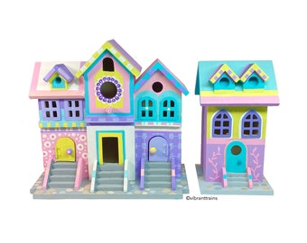 TWO Pastel Brownstone birdhouses, one of a kind hand painted.