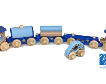 TOY TRAIN Five Cars. Blue and Beige Painted Wooden Toy Train Hand Made and Hand Painted.