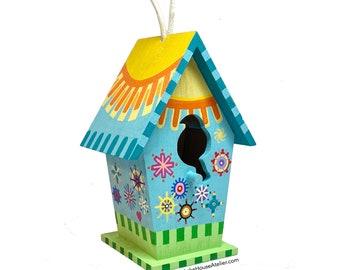 OOAK Folk Art Birdhouse, hand painted original design.