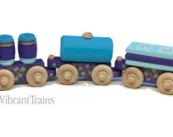 TOY TRAIN Five Cars. Blue and Purple Painted Wooden Toy Train Hand Made and Hand Painted.