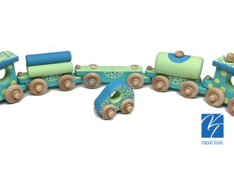 TOY TRAIN Five Cars. Blue and Green Painted Wooden Toy Train Hand Made and Hand Painted.