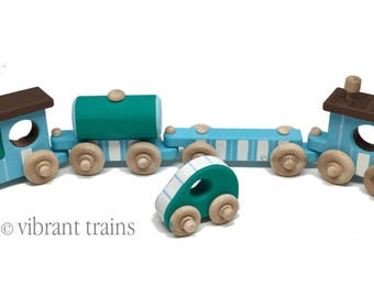 TOY TRAIN Four Cars. Blue and Teal Painted Wooden Toy Train Hand Made and Hand Painted.