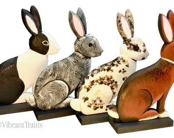 Painted Dimensional Wood Rabbit. Painted Rabbit of Varying Breeds. Painted Wooden Hare.
