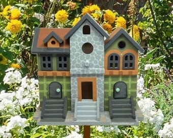 Country Cabin Birdhouse OOAK. Brownstone Style Birdhouse, Hand Painted original