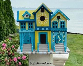 Brownstone Birdhouse. Painted Lady Birdhouse. Manhattan Brownstone. Sunflower Birdhouse.