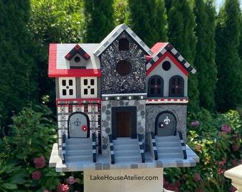 Handmade OOAK Birdhouse. 3 Section Birdhouse. Painted Ladies Birdhouse. Black and Red Birdhouse.