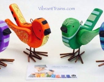 SALE Custom Painted Footed Wood Bird. Hand Painted Wooden Bird.