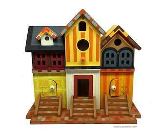 Custom Birdhouse, Hand Painted, OOAK. Multi-family Birdhouse in Autumn Colors