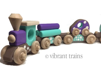 TOY TRAIN Six Cars. Brown, Blue and Purple Painted Wooden Toy Train Hand Made and Hand Painted.