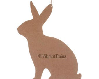 """12"""" Rabbit Silhouette Wood. Bare Wood Bunny Sign. Painted Bunny Rabbit Sign. Easter Bunny Sign."""
