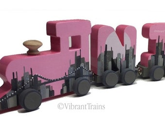 Custom FIVE LETTER Alphabet Name Train, Hand Made and Hand Painted to Meet Your Design Needs. Complete with Engine and Caboose.