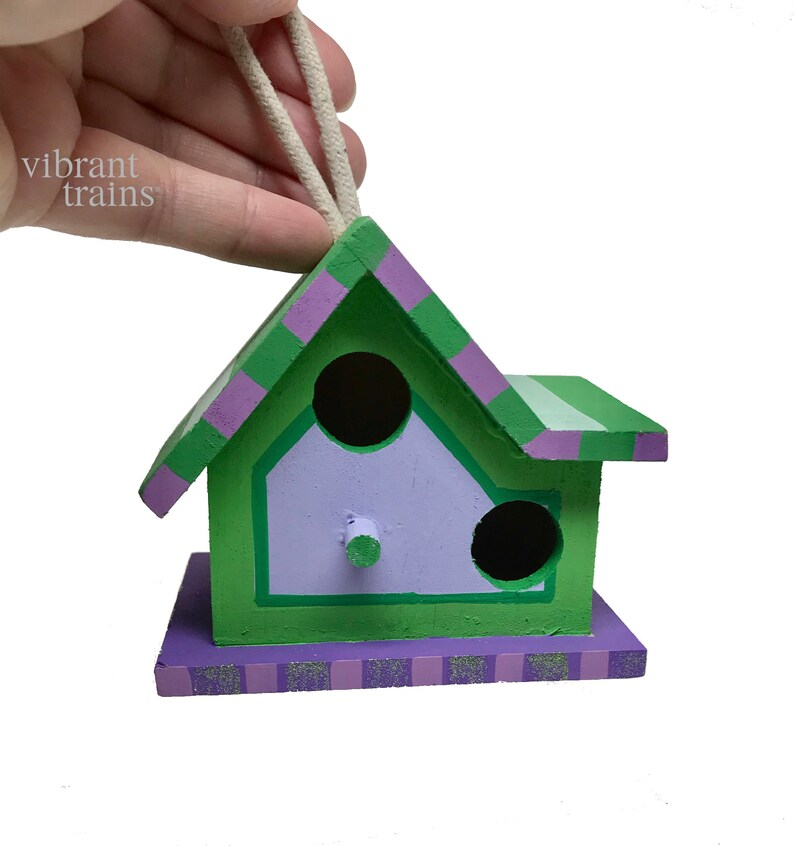 Painted Small Wood Birdhouse Green Small Birdhouse Church Birdhouse Chalet Birdhouse