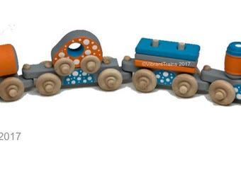 TOY TRAIN Six Cars. Multi-Color Painted Wooden Toy Train Hand Made and Hand Painted.