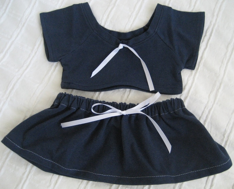 /'Bec/' Navy and White School Style Top and Skirt Teddy Bear Clothes