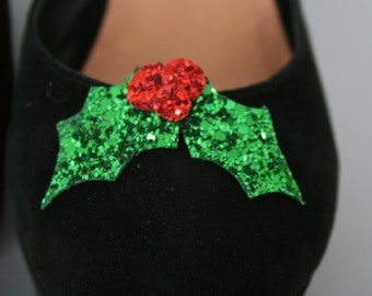 Christmas Holly Glitter shoe clips, one set- fun shoe accessories - glitter holly - shoe accessory - christmas shoes