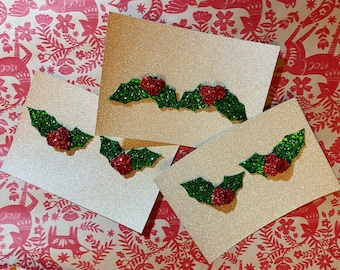 Christmas Holly Glitter shoe clips x 3 sets - fun shoe accessories - glitter holly - shoe accessory - christmas shoes