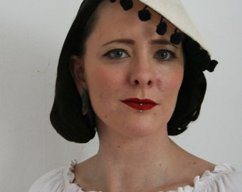 Coolie style hat with pom pom trim - vintage style coolie hat - summer hat - picture hat - fun summer pom pom hat - summer tilt hat