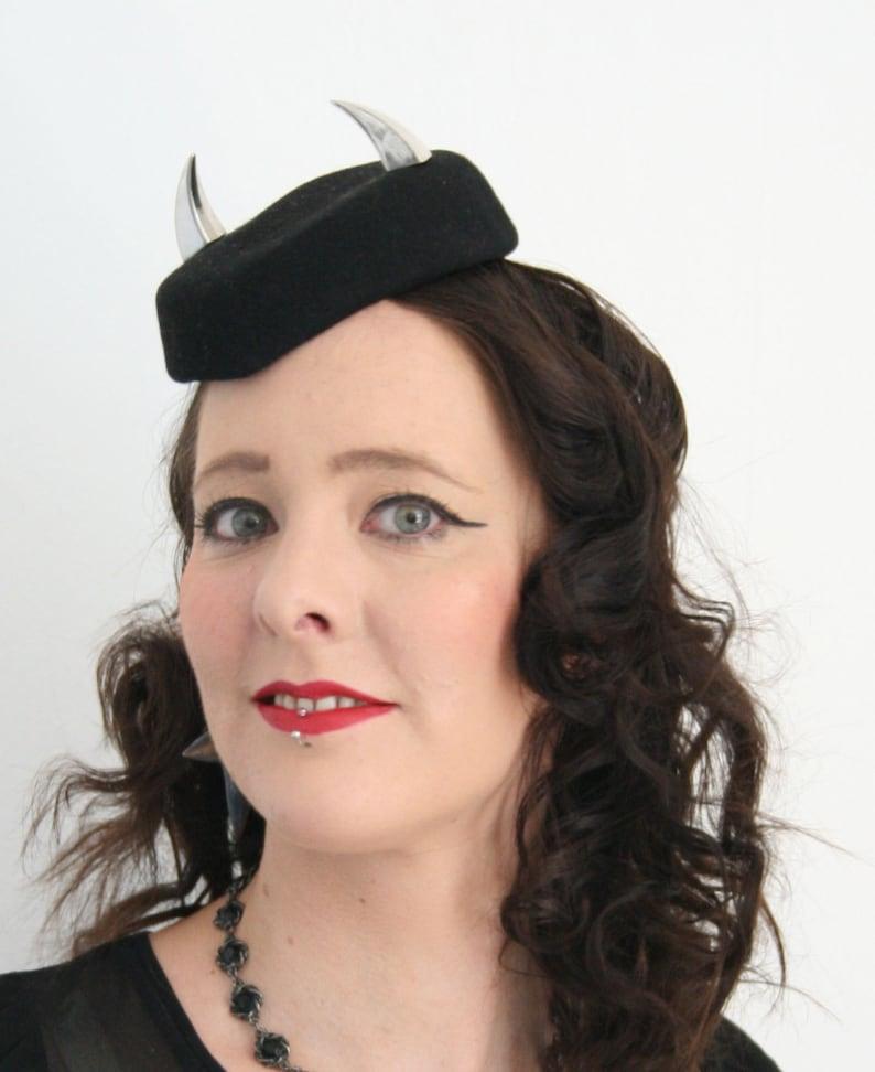 Pillbox hat with horns glamorous devil hat Fun pillbox  3abd6c1be15