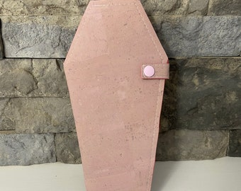 Pastel Pink Cork Coffin Wallet