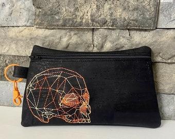 Geometric Skull Embroidered Cork Clutch