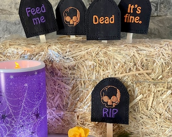 Plant Markers - Creepy Cool Tombstone Plant Signs - Set of 5