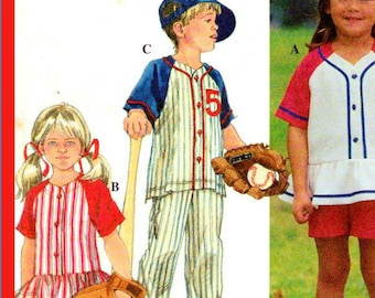 Boys' or Girls' Baseball Uniform Style Outfit Simplicity 8067 - Size 5, 6, 7, 10