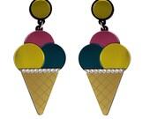 Triple Ice Cream Cone Earrings - Pink Yellow Teal, ice lolly earrings, ice cream earrings, statement earrings, swarovski earrings
