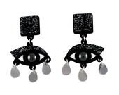 Eyes drop earrings black glitter perspex, statement earrings, surreal jewelry, dangle earrings, drop earrings, evil eye earrings