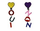 Oui Non Earrings, word earrings, statement earrings, french jewelry, heart earrings