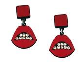 Sealed With a Kiss Acrylic Earrings in Red, Lips earrings, lips jewelry, surreal jewelry, swarovski earrings, statement earrings