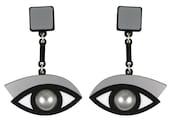 Eye statement earrings In the Blink of an Eye silver acrylic   acrylic Swarovski pearl earrings   surreal jewellery   laser cut Perspex