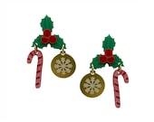 Jolly Holly Earrings Christmas Party Festive