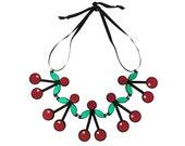 Red Acrylic Cherry Crush Necklace, cherry necklace, fruit jewelry, tutti frutti, rockabilly, kitsch jewelry, 50s jewelry