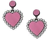 Baby Be Mine Earrings in Pink, statement earrings, plastic jewelry, heart earrings, swarovski