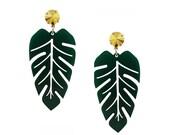 Banana Leaf Earrings   tropical earrings   laser cut acrylic Perspex   Monstera Leaf   botanical floral jewellery   gifts for her