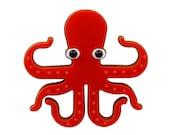 Octopussy brooch, octopus brooch, lasercut brooch, acrylic brooch, statement brooch