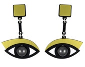 In the Blink of an Eye earrings in gold acrylic, eye earrings, surreal jewelry, statement earrings, swarovski earrings, drop earrings