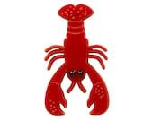 Red Lobster Brooch, Acrylic Brooch, Lasercut Brooch, pin, badge, statement brooch
