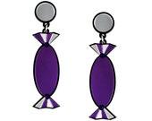 Purple Quality Treat Sweet Earrings - Laser cut acrylic, sweets earrings, food jewelry, lolly earrings, statement earrings, plastic earrings