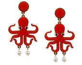 Octopussy Earrings, octopus earrings, perspex earrings, acrylic earrings, lasercut earrings, statement earrings, pearl earrings