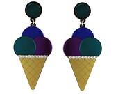 Triple Ice Cream Cone Earrings - Purple Blue Teal