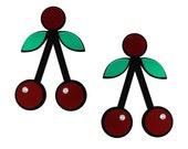 Red Acrylic Cherry Crush earrings, kitsch jewellery, statement earrings, lasercut earrings, acrylic earrings, rockabilly, fruit jewelry
