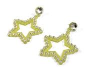 Seeing Stars Crystal Earrings in Yellow,  statement earrings, lasercut earrings, acrylic earrings, dangle earrings, swarovski crystals
