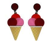 Triple Ice Cream Cone earrings - Pink Red Orange, ice cream earrings, food earrings, statement earrings, fun earrings, big earrings