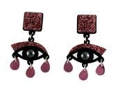 Eyes drop earrings pink glitter perspex | eye earrings | lightweight statement drop earrings |  acrylic laser cut jewellery | gifts for her