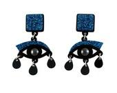 Eyes drop earrings in blue glitter perspex, statement earrings, surreal jewelry, dangle earrings, drop earrings, evil eye earrings,